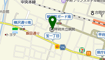 甲府共立病院の地図画像