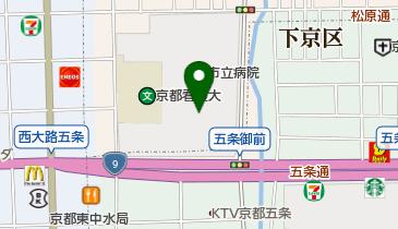 京都市立病院の地図画像