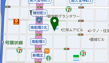 丸亀製麺北心斎橋の地図画像